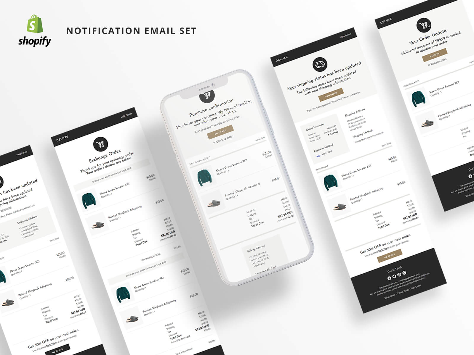 Boreal - Shopify + HTML Notification and Transactional Email Template - 1