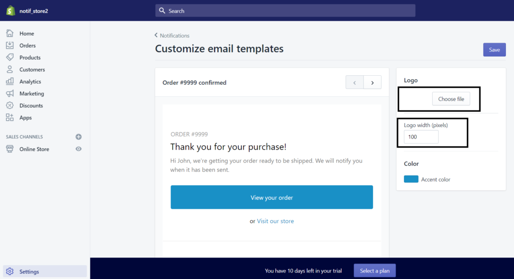 shopify email customization
